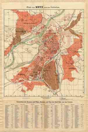 Plan von Metz und den Vororten