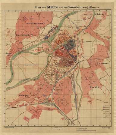 Plan von Metz und den Vororten nach Pfarreien