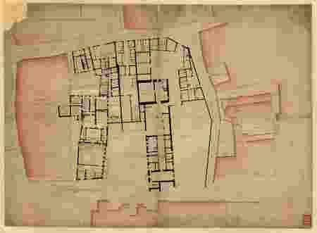 Plan détaillé du Palais de l'Evêché et de la rue de la Croix au Fer