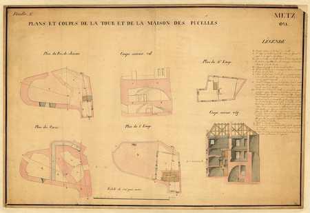 Plans et coupes de la Tour et de la Maison des Pucelles