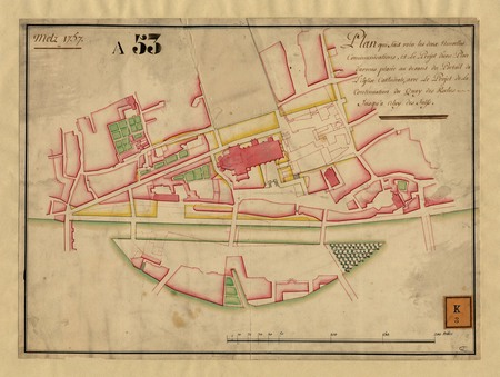 Metz 1757 : Plan qui fait voir les 2 nouvelles communications et le projet…
