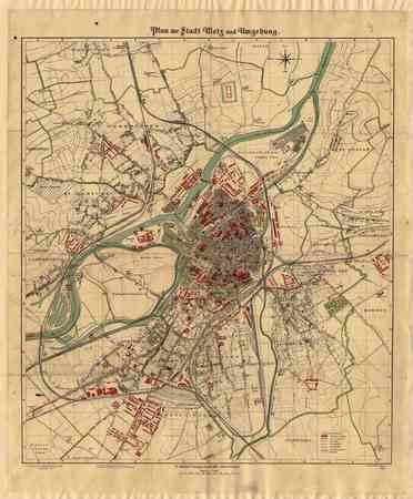 Plan der Stadt Metz und Umgebung
