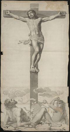 [Adame et Eve au pied du Christ en croix]