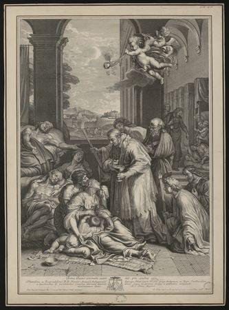 Saint Charles Borromée administrant la communion aux pestiférés de Milan  …