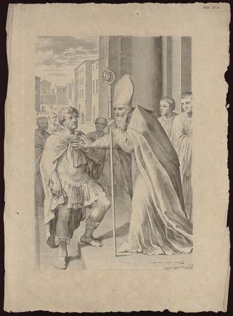 Saint Ambroise refusant l'entrée de l'eglise de Milan à l'empereur Theodos…