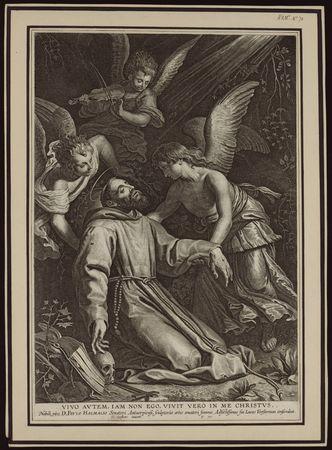 Saint François d'Assise en extase se voit réconforté par des anges après s…