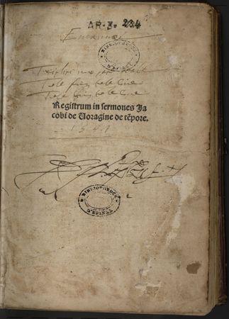 Registrum in sermones Jacobi de Voragine de tempore