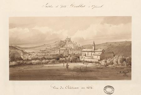 Le château d'Epinal : Vue du château en 1626, par Hogard en 1834