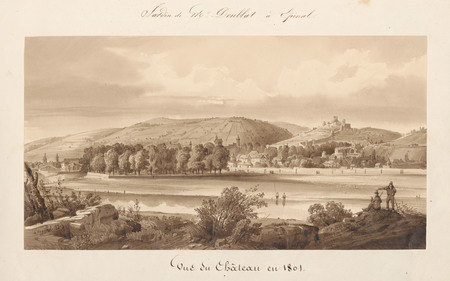 Le château d'Epinal : Vue du château en 1801, par Hogard en 1834