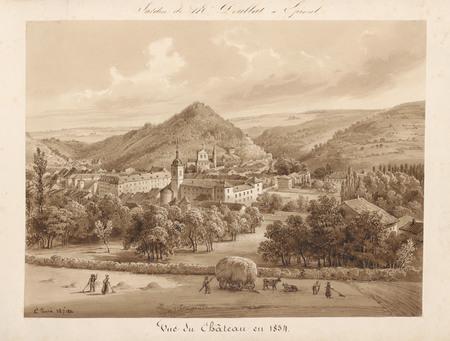 Le château d'Epinal : Vue du château en 1834, par Charles Pensée le 28.07.…