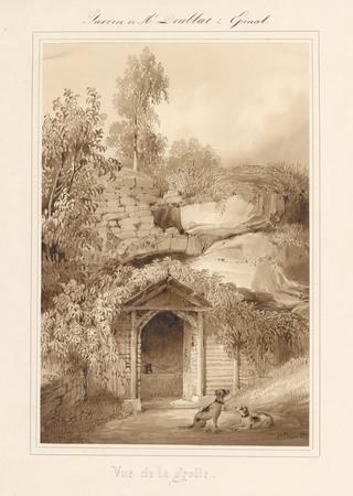 Le château d'Epinal : Vue de la Grotte, par Charles Pensée en 1829