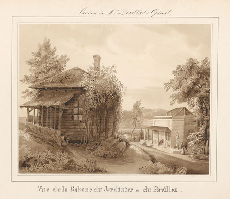 Le château d'Epinal : Vue de la cabane du jardinier et du pavillon