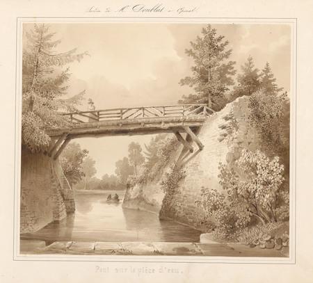 Le château d'Epinal : Pont sur la pièce d'eau