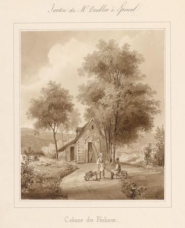 Le château d'Epinal : Cabane du pêcheur, par Charles Pensée en 1828