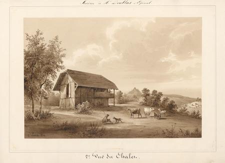 Le château d'Epinal : 2ème vue du chalet, par Charles Pensée en 1834