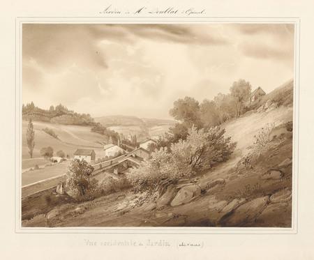 Le château d'Epinal : Vue occidentale du jardin (vallée Saint-Michel)