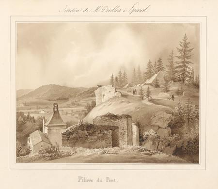 Le château d'Epinal : Piliers du pont, par Charles Pensée en 1828