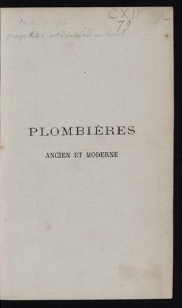Plombières ancien et moderne