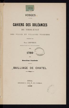 Cahiers des doléances du tiers-état des villes et villages vosgiens, 1789