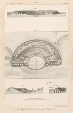 Gran[d]. Plan, coupes et élévation des ruines de l'Amphithéâtre
