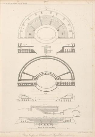 Gran[d]. Plans, coupes et élévation de l'Amphithéâtre restauré