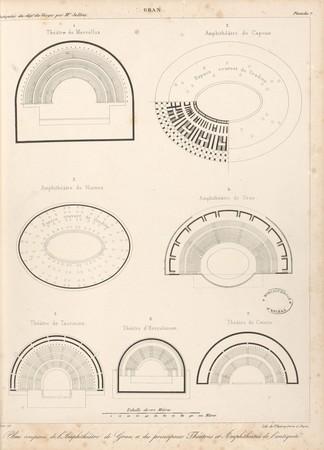 Gran[d]. Plans comparés de l'Amphithéâtre de Gran[d] et des principaux thé…