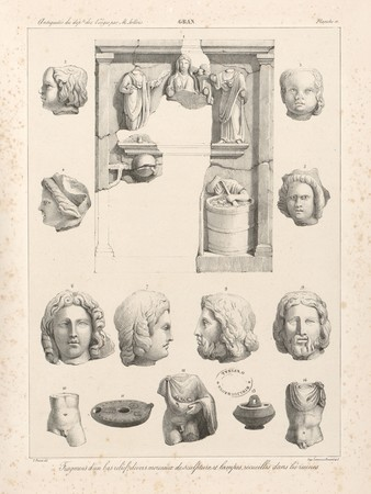 Gran[d]. Fragmen[t]s d'un bas-relief, divers morceaux de sculpture et lamp…