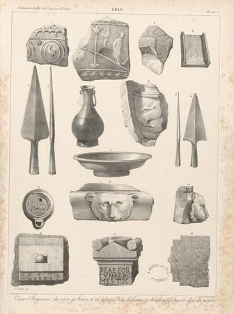 Gran[d]. Vases et fragmen[t]s de vases en bronze et en poterie, fers de la…
