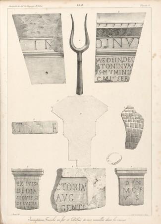 Gran[d]. Inscriptions, fourche en fer et débris de vases recueillis dans l…