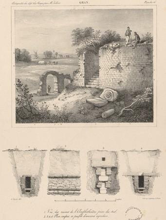 Gran[d]. Vue des ruines de l'Amphithéâtre prise du sud. Plan, coupes et pr…