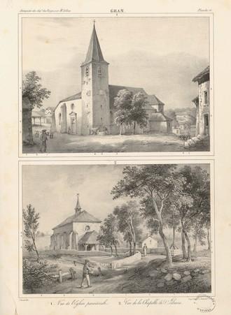 Gran[d]. Vue de l'église paroissiale. Vue de la chapelle Sainte-Libaire