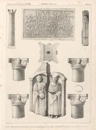 Soulosse. Inscription latine placée maintenant sur le pont de Soulosse, pi…