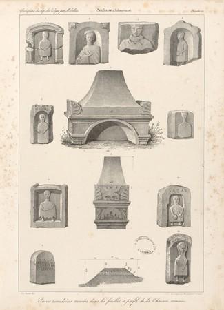 Soulosse. Pierres tumulaires trouvés dans les fouilles et profil de la cha…