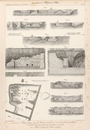 Bleurville. Coupes prises sur le bassin romain et sur la place publique. D…