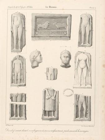 Le Donon. Bas relief exécuté dans le roc et fragmen[t]s de pierres sculpté…