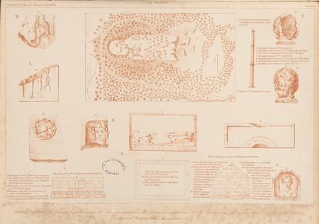 Le Donon. Détails réduits de dessins au crayon rouge de la topographie de …
