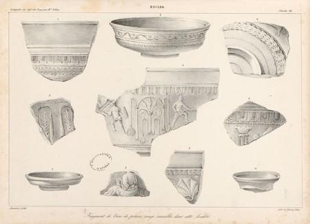 Escles. Fragment[s] de vases de poterie rouge recueillis dans cette locali…