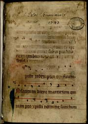 Hymnaire à l'usage de l'abbaye de Remiremont