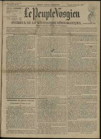 Le Peuple vosgien, journal de la République démocratique