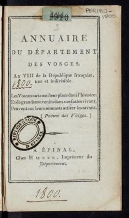 Annuaire du département des Vosges, an VIII de la République française une…