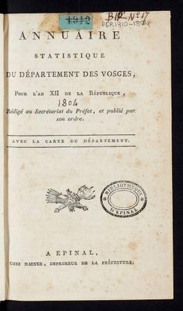 Annuaire statistique du département des Vosges, pour l'an XII de la Républ…