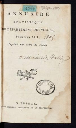 Annuaire statistique du département des Vosges, pour l'an XIII