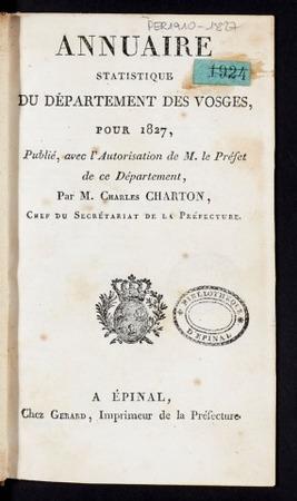 Annuaire statistique du département des Vosges, pour 1827