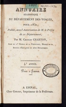 Annuaire statistique du département des Vosges, pour 1830