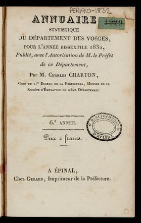 Annuaire statistique du département des Vosges, pour l'année bissextile 18…