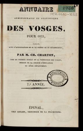 Annuaire administratif et statistique des Vosges, pour 1833