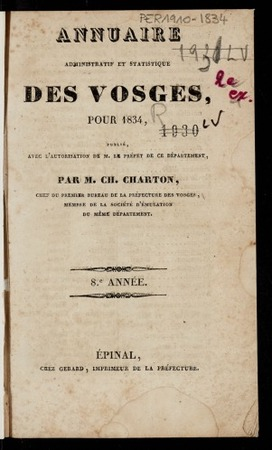 Annuaire administratif et statistique des Vosges, pour 1834