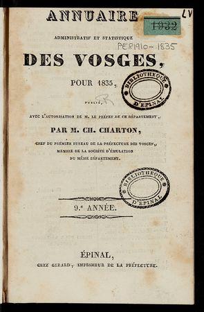 Annuaire administratif et statistique des Vosges, pour 1835