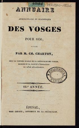 Annuaire administratif et statistique des Vosges pour 1836