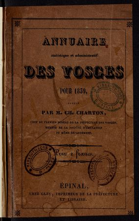 Annuaire statistique et administratif des Vosges pour 1839